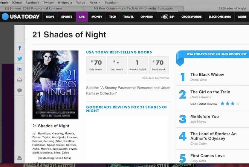 21 Shades made USA Today bestseller list!